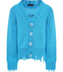 riccardo comi light blue happy day cardigan for kids