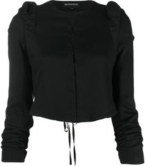 ann demeulemeester cropped ruffled jacket - black