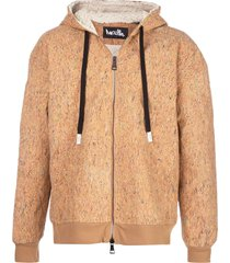 haculla drop shoulder illustrated hoodie - brown