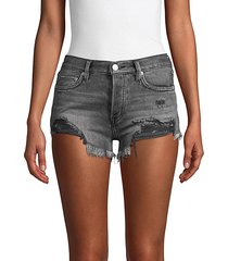 loving good vibration frayed denim shorts