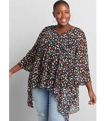 lane bryant women's sharkbite chiffon babydoll blouse 10/12 multi leaf print