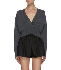 front twist detail v-neck rib hem crop sweater