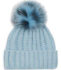 fox fur chunky knit beanie