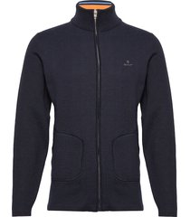 d1. double faced full zip cardigan gebreide trui cardigan blauw gant