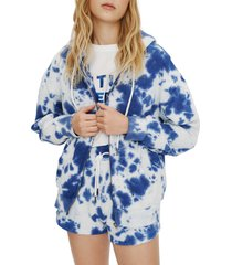 elevenparis tie dye french terry zip hoodie, size small in limoges blue tie dye at nordstrom
