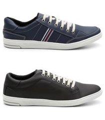 kit 2 pares sapatênis masculino tênis casual sola borracha azul e preto 44