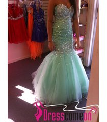 sweetheart prom dress,mermaid prom dress,prom gown,party dress,mint formal gown