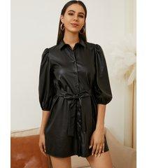 yoins mini vestido negro con cinturón de cuero pu con diseño de cuello clásico y medias mangas
