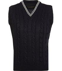 lapin house v-neck cable knit gilet - blue