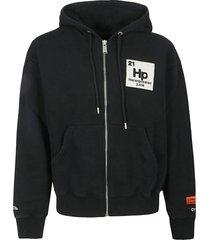 heron preston logo patched zip-up hoodie