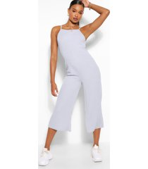 high neck ribbed culotte jumpsuit, grey