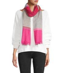 saachi women's melody striped wool-silk blend scarf - pink