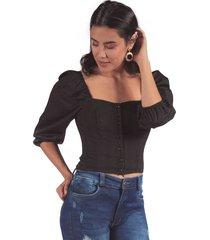 blusa adrissa escote cuadrado y botones con volumen en manga negra