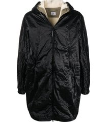 c.p. company black cotton blend parka coat