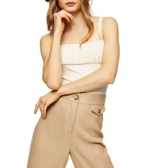 women's topshop ruched square neck sleeveless bodysuit, size 14 us (fits like 16-18) - ivory