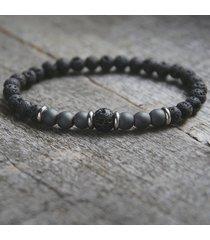 męska bransoletka : black lava & grey hematite