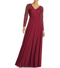 women's dessy collection long sleeve lace & chiffon a-line gown