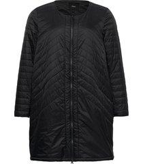 jacket quilted plus zip round neck doorgestikte jas zwart zizzi