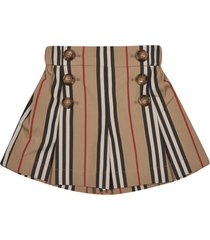 burberry stripe print button-embellished skirt