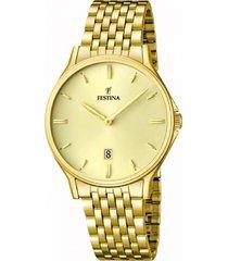 reloj acero clasico dorado festina