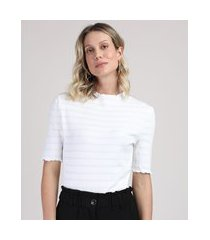 blusa feminina alongada listrada gola alta manga curta off white