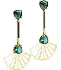 brinco kumbayã¡ haste longa e leque arabesco cristal oval  semijoia banho de ouro 18k cristal verde esmeralda - verde - feminino - dafiti