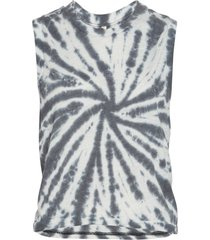 free people women's tie dye love yoga tank top - black combo large cotton