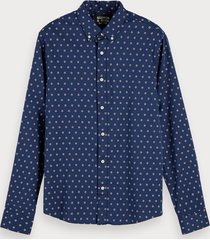 scotch & soda overhemd met mini-jacquard | regular fit