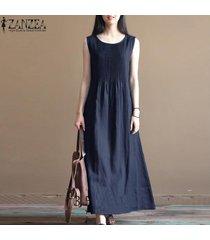 zanzea verano de las mujeres llanura de la llamarada el columpio maxi vestido de tirantes holgada más el tamaño de vestido largo -azul marino