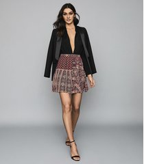 reiss izarra - patchwork printed mini skirt in red, womens, size 12