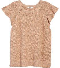 women's madewell flutter sleeve sweater, size medium - beige