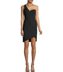 one-shoulder stretch crepe wrap dress