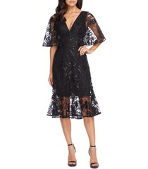 dress the population roseanna lace sequin fit & flare dress, size medium in black at nordstrom
