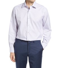 men's big & tall david donahue regular fit herringbone check dress shirt, size 18 - 36/37 - purple
