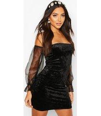 bardot velour mini dress with organza sleeves, black