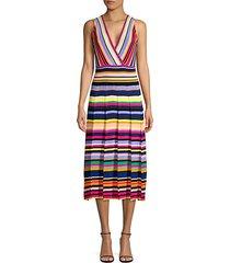 surplice stripe knit dress