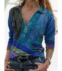 camicetta da donna con zip frontale con scollo a v manica lunga stampata etnica