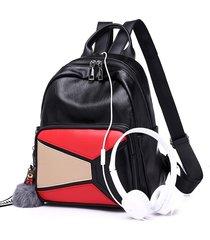 mochilas/ retro mini mochila mujeres mochilas paneled-rojo