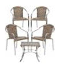 jogo cadeiras 4un e mesa de centro pinheiro para edicula jardim area varanda descanso - argila