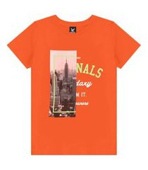 camiseta decoy adulto masculino estampada laranja