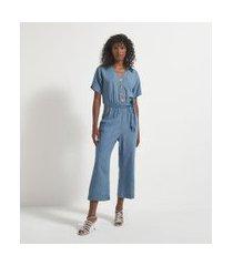 macacão pantacourt jeans com abotoamento frontal | marfinno | azul | p