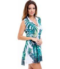 vestido chemise 101 resort wear evasê crepe babados renda pala estampado folhagem verde