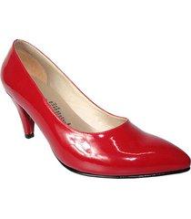 zapato cerrado   tacon mediano   rojo charol   wanted  674