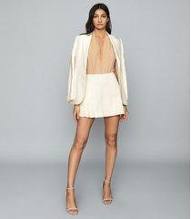 reiss ros - metallic sleeveless plunge bodysuit in rose gold, womens, size xl