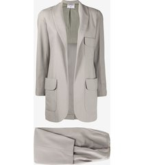chanel pre-owned 1990s two-piece silk dinner suit - grey