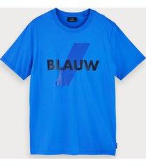 scotch & soda t-shirt van biologisch katoen met korte mouwen en blauw-logo