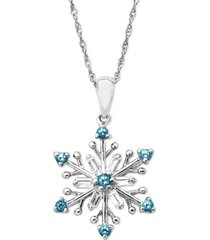 sterling silver necklace, blue topaz (3/8 ct. t.w.) and white topaz (3/8 ct. t.w.) snowflake pendant