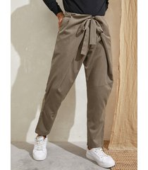 hombre vendimia cordón anudado suelto casual pantalones