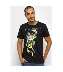 camiseta ed hardy snake & rose masculina