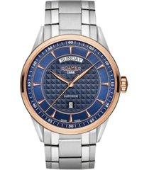 roamer men's 3 hands day date 42 mm dress watch in steel case on steel bracelet